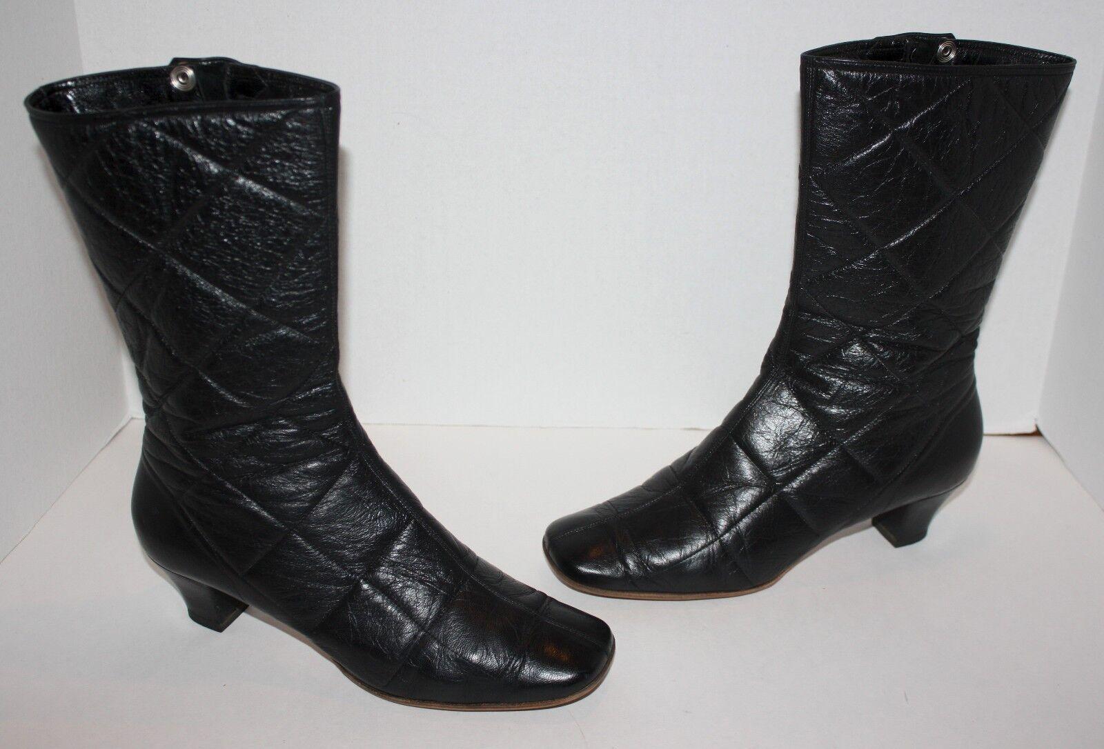 Para Mujer Marc Jacobs negro acolchado cuero botas   Us 9