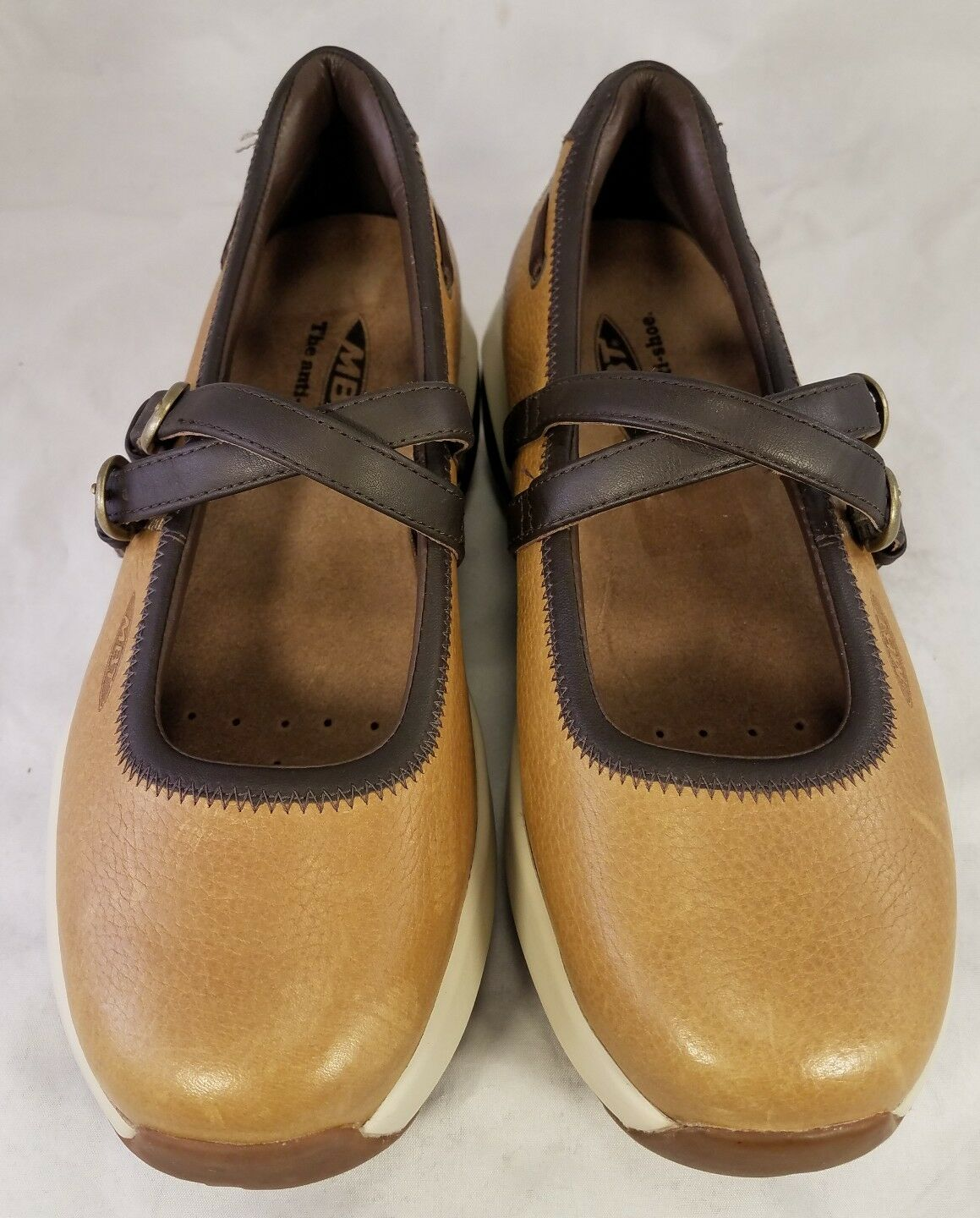MINT MBT WOMAN SHOES MARY JANE JANE JANE CHANGA MUSTARD BROWN LEATHER 39 8.5 132185