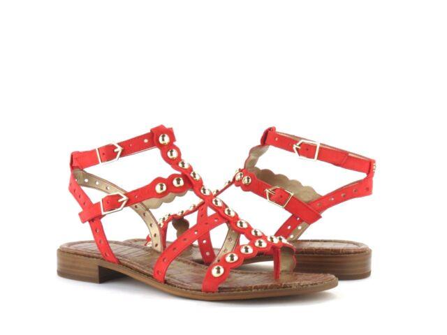 286df309945c Sam Edelman Elisa Studded Gladiator Bright Coral Suede Strappy Sandal NEW  8.5