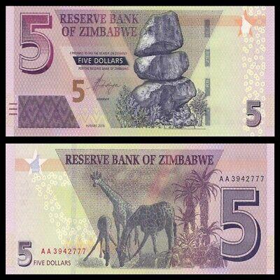 1997 banknote P-5b Lot 5 PCS Zimbabwe 5 Dollars UNC