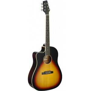 stagg sa35 left hand cutaway acoustic electric guitar sunburst w built in tuner 882030244315 ebay. Black Bedroom Furniture Sets. Home Design Ideas