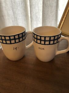 Rae Dunn By Magenta SIP DRINK Ceramic Coffee 2 Mugs 16 Oz Ivory Blue Gingham New