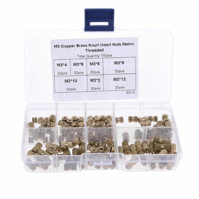 150pcs M3 Brass Knurl Insert Nuts Threaded Assortment Set Kit with Box New