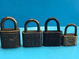 Old Vtg Collectible Mixed Lot Of 4 Victory Slaymaker Locks Padlock Made In Usa Ebay