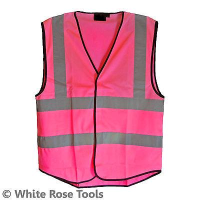 Pink Hi-Vis Hi-Viz Vest Waistcoat Fancy Dress Women High-Visibility Horse Riding