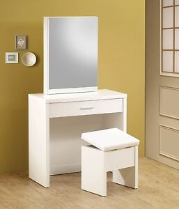 ULTRA MOD WHITE VANITY WITH SLIDING MIRROR DRESSING TABLE & BENCH ...
