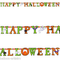 8ft Happy Halloween Spooky Jointed Cutout Letter Banner