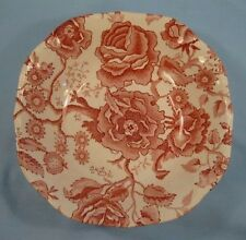 English Chippendale Soup Bowl Johnson Brothers Red Pink Transferware Square (O)