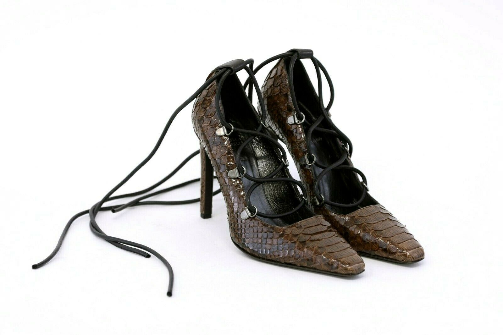 NWOB Brunello Cucinelli Women's Glossy Python Leather Lace-Up Pumps 37  7US A191