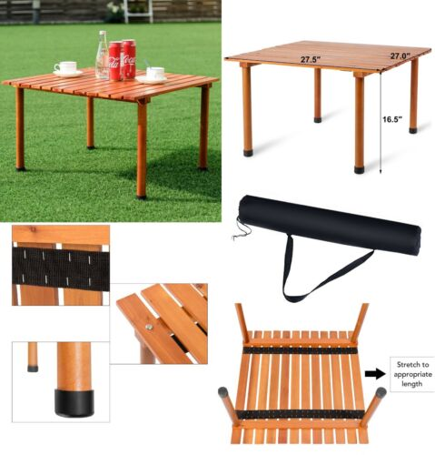 Roll Up Folding Wood Camping Table Outdoor Indoor Water-Resistant Durable w//Bag