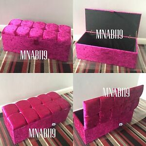 Excellent Details About 40 Inch Hot Pink Crushed Velvet Ottoman Storage Box Toy Foot Stool 4 Diamante Squirreltailoven Fun Painted Chair Ideas Images Squirreltailovenorg