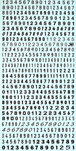 Startnummern Zahlen schwarz Start Numbers black 4,0 x 4,4 mm 1:43 Decal Abziehbi