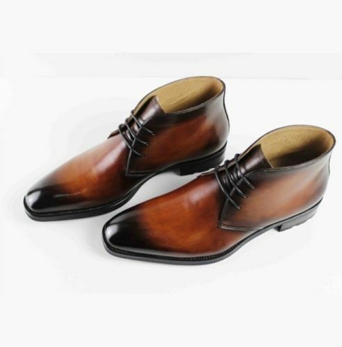 MEN HANDMADE HAND PAINTED BROWN LACE UP CHUKKA LACES UP BOOTS FOR MEN