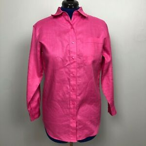 Westbound-Women-Size-Small-100-LINEN-Button-Down-Tunic-Shirt-Pink