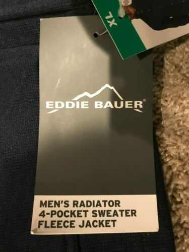 Eddie Bauer Men Radiator Field Fleece 4 Pocket Sweater Jacket Navy Blue CL1 NEW