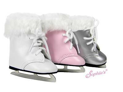 "ICE SKATES iceskates iceskating WHITE fur trim 18"" Girl Dolls American E-store"