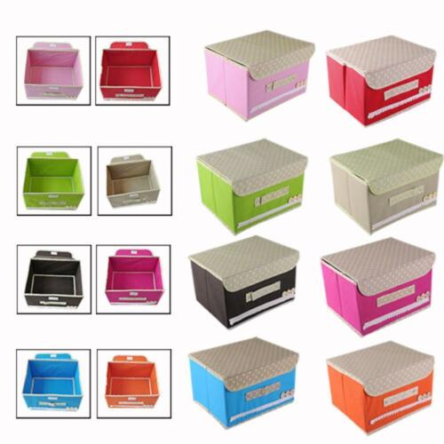 Household Storage Boxes Clothes Organizer Fabric Bin Basket Container With Cover