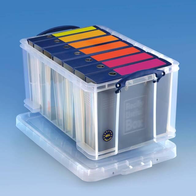 Really Useful Box 48 Liter, transp. Aufbewahrungsbox für 7 Ordner, Hängeregister