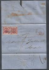 ASI NAPOLI 1861 ANNULLO SVOLAZZO TIPO 36 BUSTA CON 1 + 2 GRANA (N. 7e + 4b) AIV