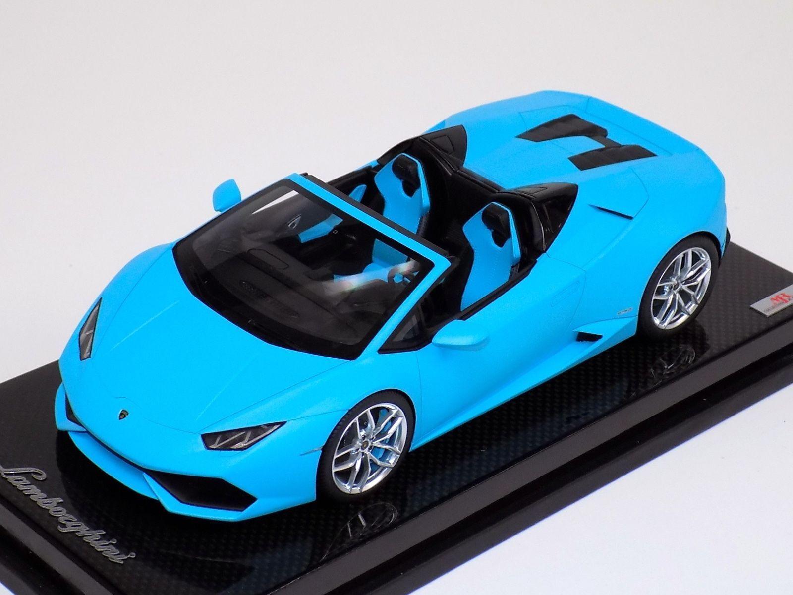 1 18 MR Collection Lamborghini Huracan Spider Matt baby bluee Carbon Base