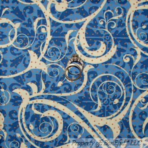 BonEful Fabric FQ Cotton Quilt Blue L Scroll Swirl Script Flower Dot Cream Brown