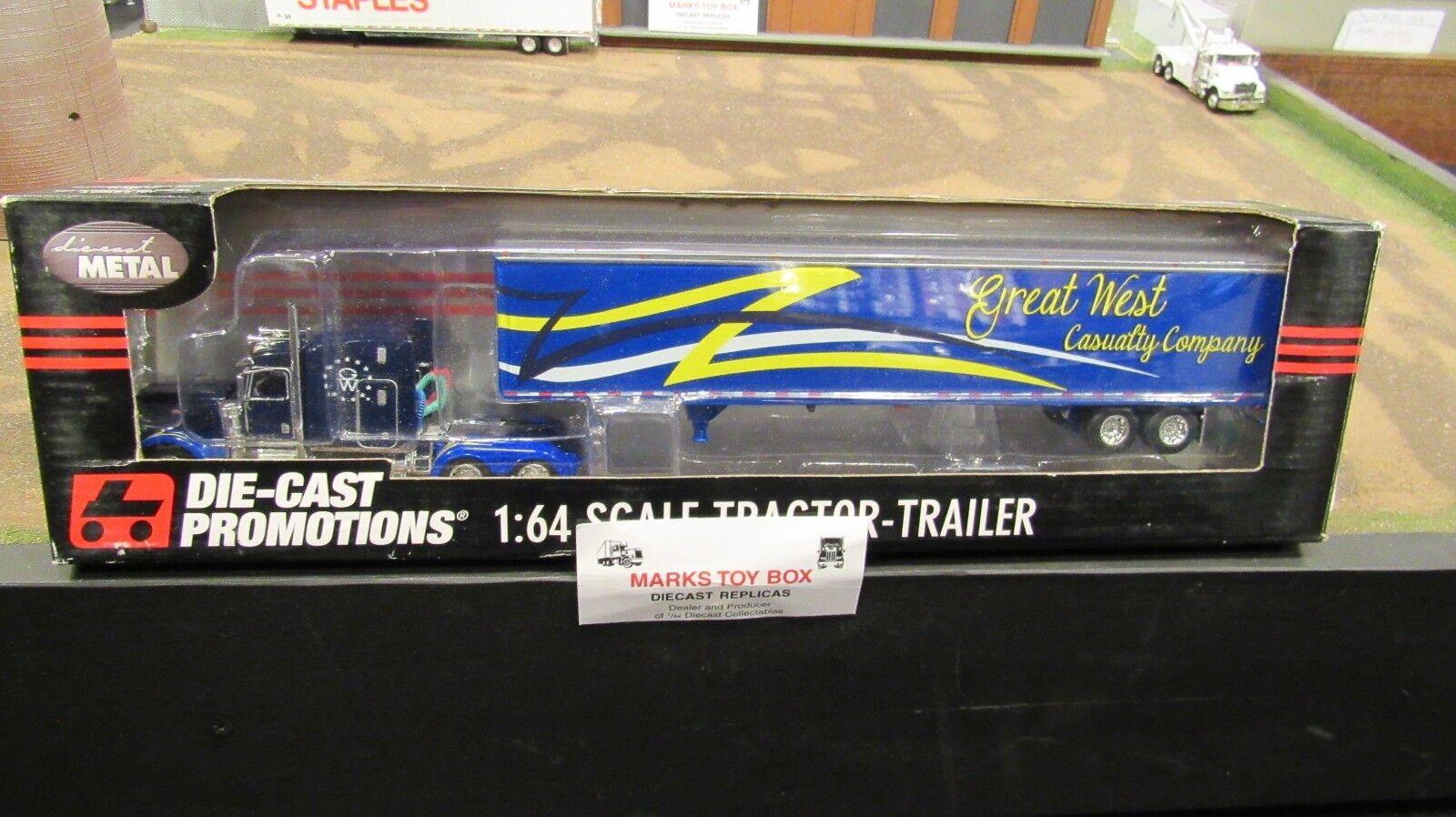 DCPGW Great West siniestro Co Pete 389 semi camión Dry Van Trailer 1 64 FC