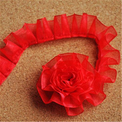 2Yards Box Pleat Lace Trims Edge Organza Ribbon Skirt Curtain DIY 0.98/'/'Width