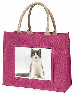 Cute grau und weiß Kätzchen Große Rosa Einkaufstasche Weihnachtsgeschenk,