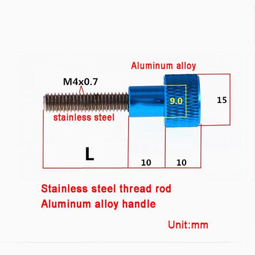 M4 Hohe Rändelschrauben L=5~100mm Edelstahl Gewindestange Aluminium Griffkopf