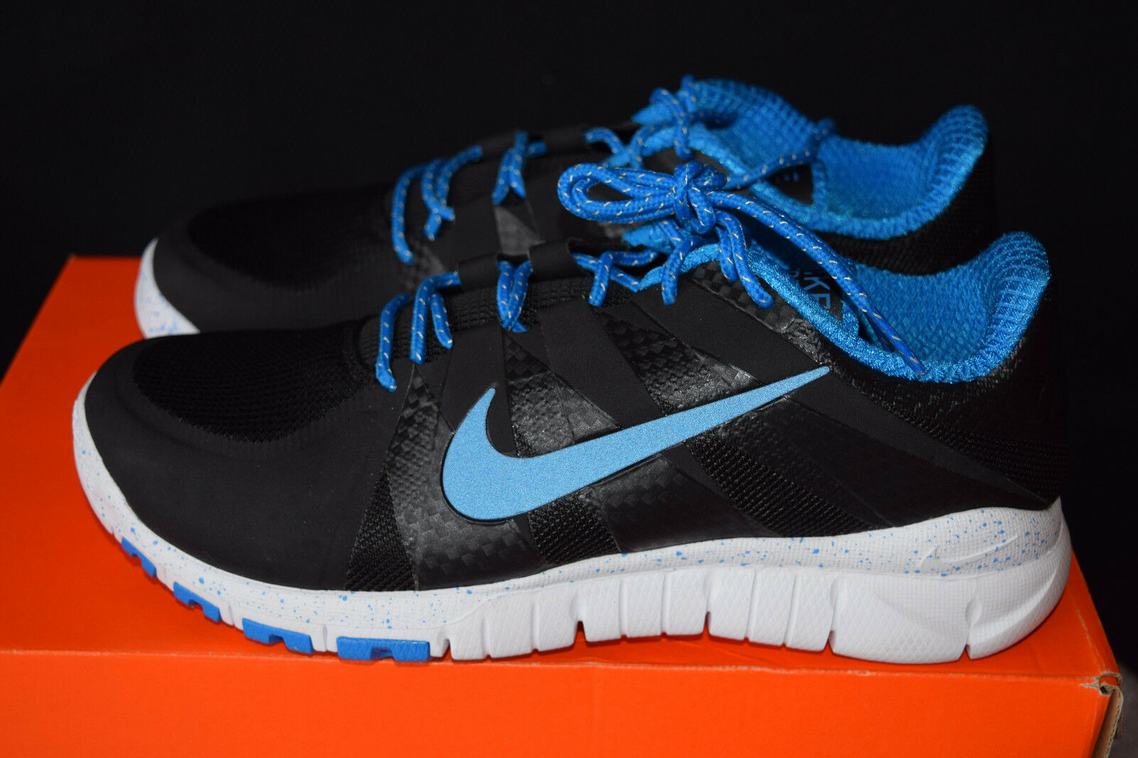 Nike Free 5.0 Mens Premium Running Shoes Sz 9 Black, Cobalt, White