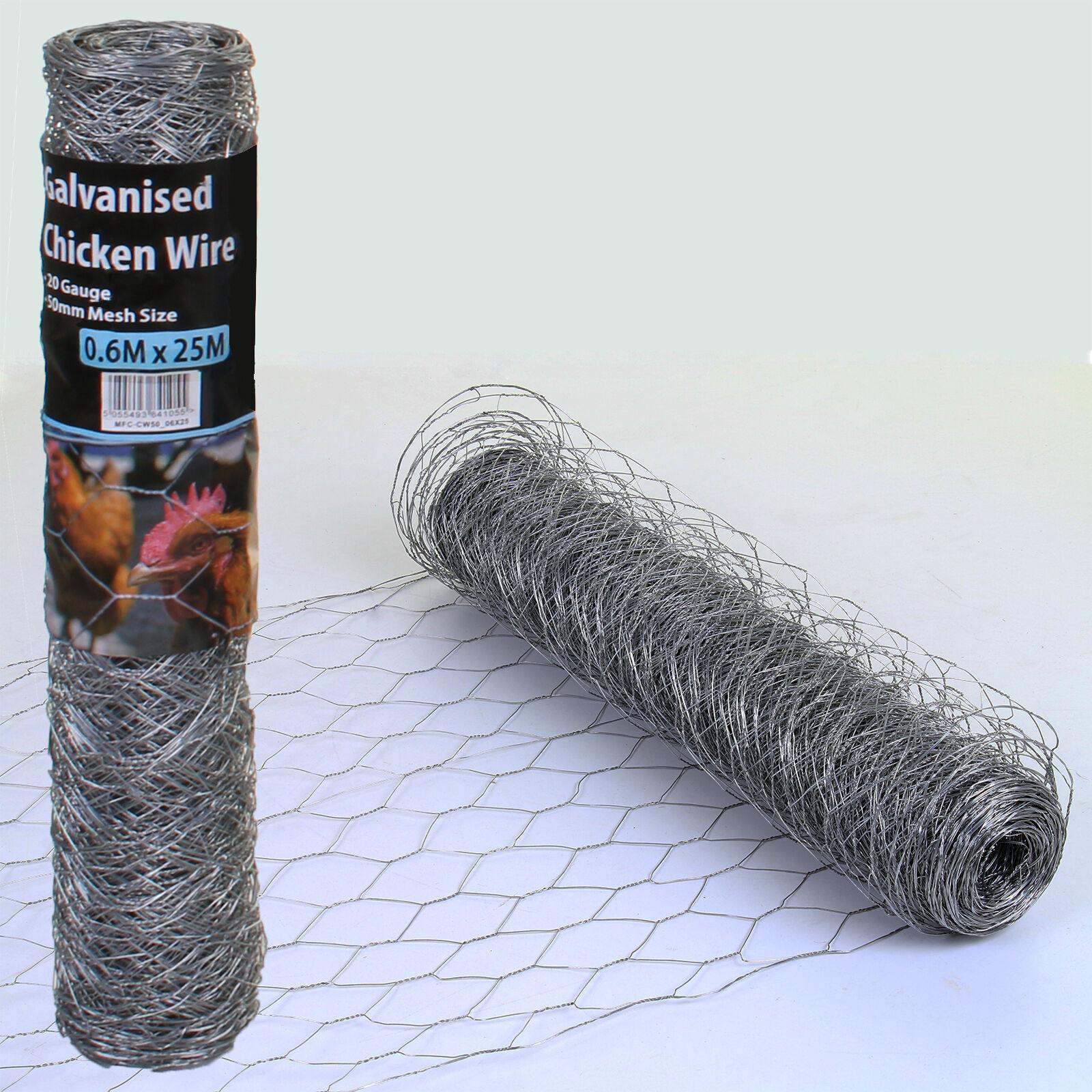 Chicken Wire Mesh Fencing Rolls Netting Garden Outdoor Galvanised ...