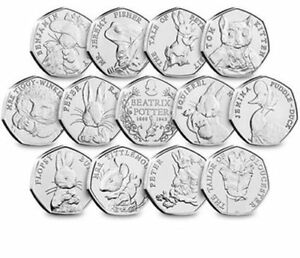 Beatrix-Potter-50p-Coins-UNCIRCULATED-Squirrel-Nutkin-Jemima-Puddle-Duck