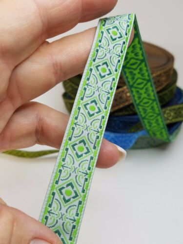 Medieval Folk Fabric woven trim Light Green 5//8 inch wide by the yard