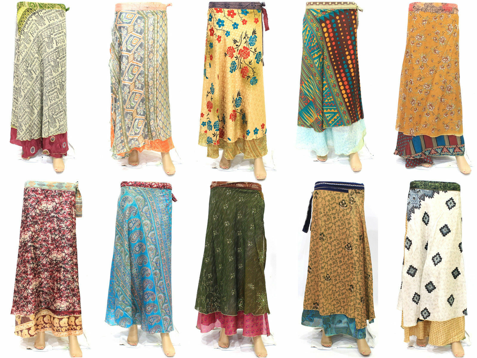 5 PC Vintage Silk Wrap Around Skirt Sari Magic Wrap Around Long Skirt Beach Wear