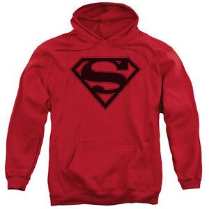 Superman-RED-amp-BLACK-SHIELD-Licensed-Adult-Sweatshirt-Hoodie