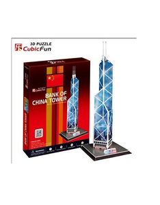 3D puzzle toy CubicFun paper model jigsaw game Bank of China Tower building 1pc