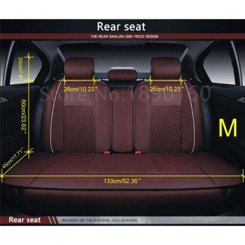 Size M PU Leather Car Seat Cover Front /& Rear 5-Seats W//Neck Lumbar Pillow 7pcs