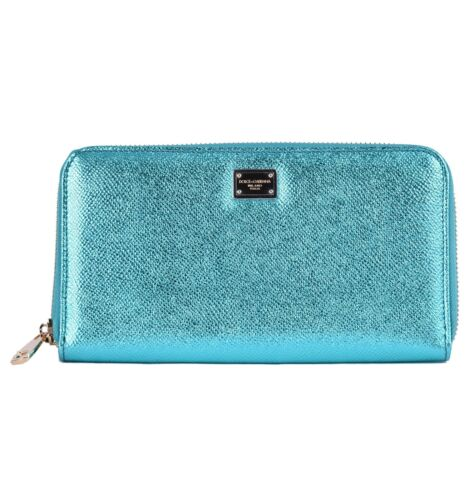 DOLCE /& GABBANA Long Zip-Around Shiny Dauphine Leather Wallet Purse Aqua 04742