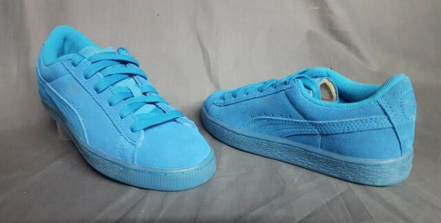 new styles 8aa05 26bee PUMA Suede Iced Fluorescent Jr Athletic SNEAKERS Atomic Blue Girls Size 6