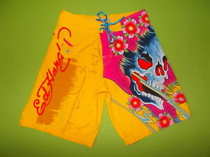 Shorts-ED-HARDY-M-Surf-or-Die-Men-039-s-SWIMWEAR-Shorts-PERFECT-YELLOW-Skull