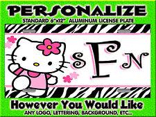 Hello Kitty Zebra Print Pink  Background PERSONALIZED Bike Sized  License Plate