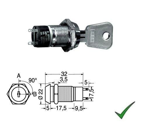 Interruttore a chiave 2 chiavi per antifurto a 2 posizioni 250V 2A 22mm 12V