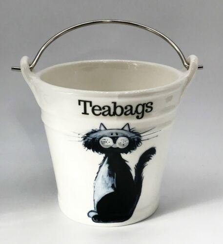 Large Teabag Holder Tea Bag Rest BN Porcelain Cat Teabag Bucket Cat Gift