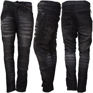 New-Mens-Motorcycle-Motorbike-Jeans-Denim-Trouser-Protective-Inner-Black-Jeans