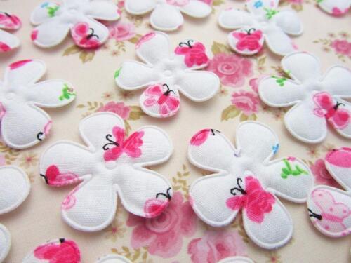 60 Rembourré Rose Papillon coton imprimé fleur en tissu Applique//TRIM//Couture H570
