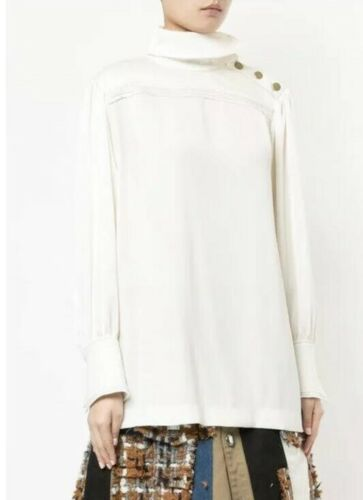 Sonia Rykiel White Ivory Stand Up Collar Blouse si