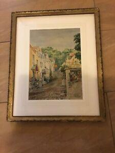 Thomas-J-Somerscales-Jr-Clovelly-1939-Watercolour-Original-Frame-V-Rare-signed