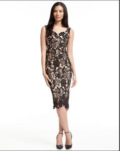 FEW MODA PARIS OFF THE SHOULDER ROMANCE LACE NAVY SHEATH DRESS sz XL