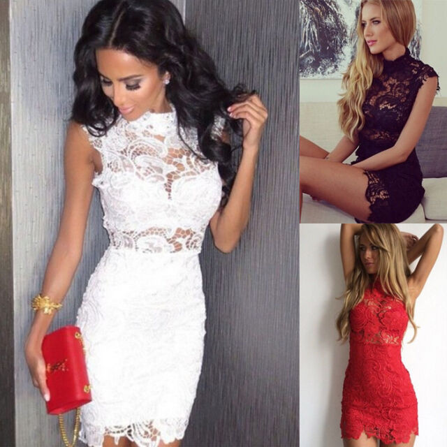 Women's Lace Crochet Bodycon Sleeveless Summer Cocktail Evening Party Mini Dress