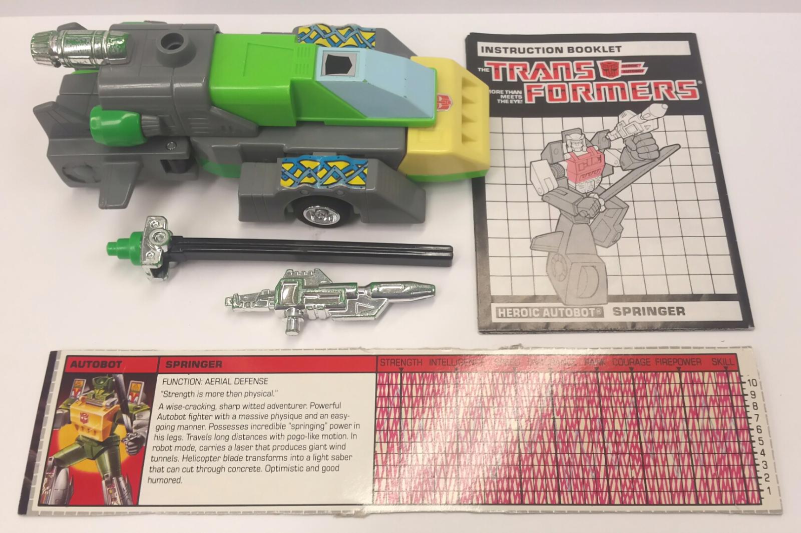 SPbagueER avec plastique  poitrine, 1986 G1 Transformers; complet avec Tech Spec & Charger  venez choisir votre propre style sportif